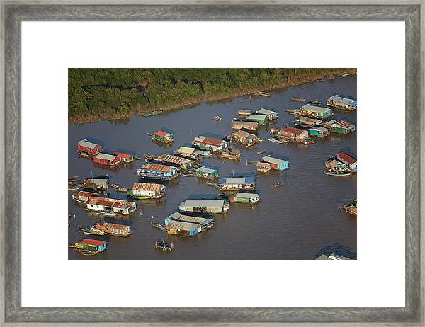 Chong Kneas Floating Village, Tonle Sap Framed Print