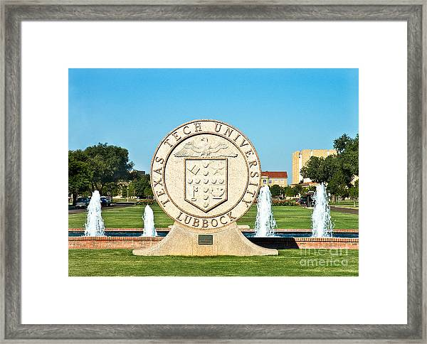 Framed Print featuring the photograph Classical Image Of The Texas Tech University Seal  by Mae Wertz