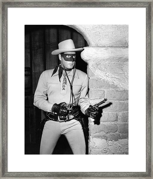 Clayton Moore In The Lone Ranger  Framed Print