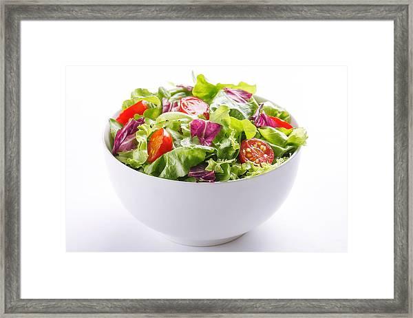 Close-up Of Fresh Salad In Bowl On White Background Framed Print by Vesna Jovanovic / EyeEm