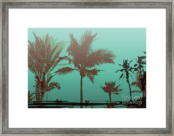 Colorful Background With Silhouette Of Framed Print by Romas photo