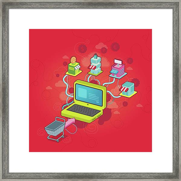 Conceptual Illustration Of Online Shopping Framed Print by Fanatic Studio / Science Photo Library