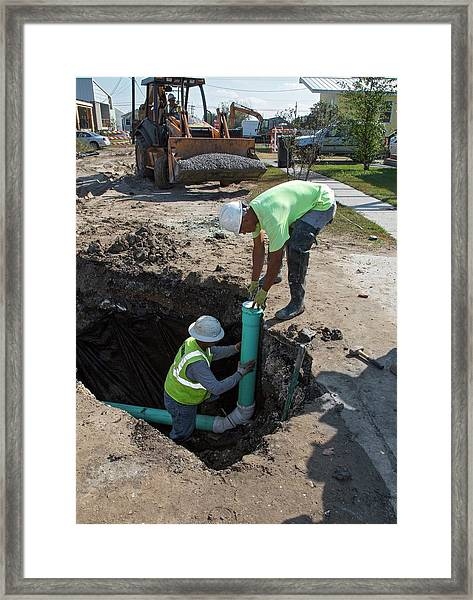 Connecting Domestic Sewers Framed Print