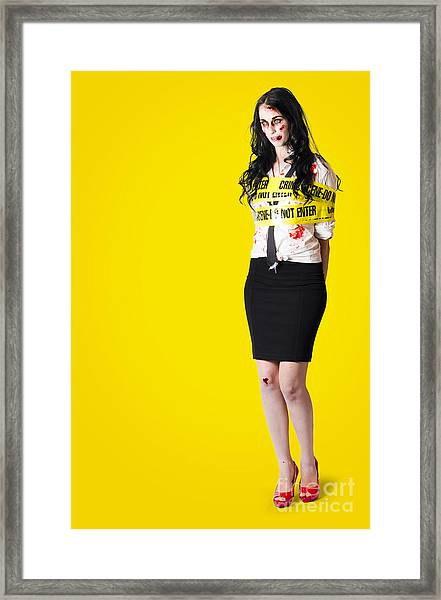 Creepy Homicide Girl Standing Undead On Yellow Framed Print