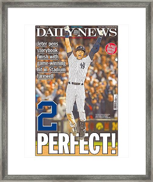 Daily News Front Page Wrap Derek Jeter Framed Print by New York Daily News