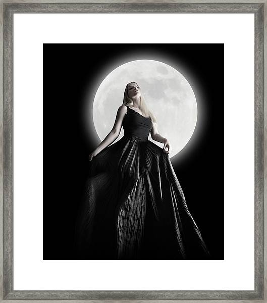 Dark Night Moon Girl With Black Dress Framed Print