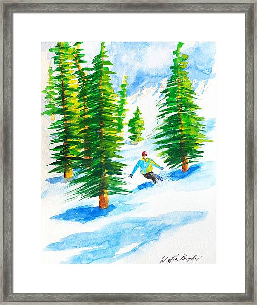 David Skiing The Trees  Framed Print