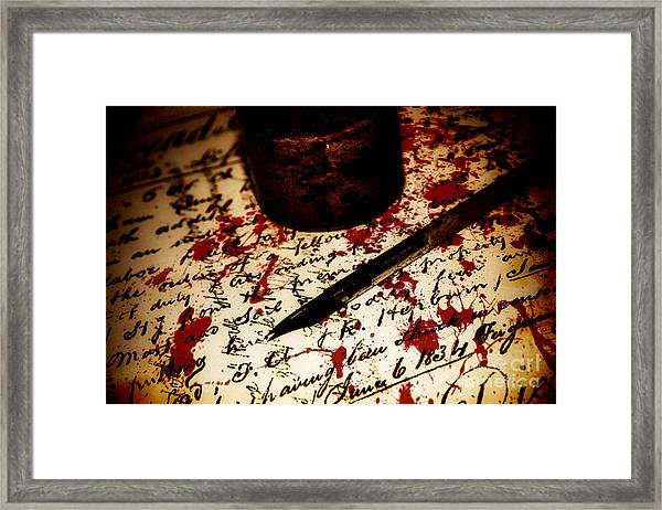 Death Certificate Signed In Blood Framed Print