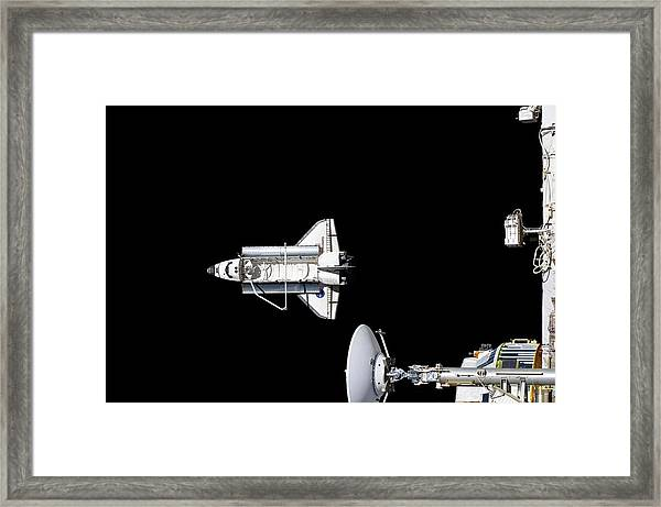 Discovery Departing The Iss Framed Print by Nasa/science Photo Library