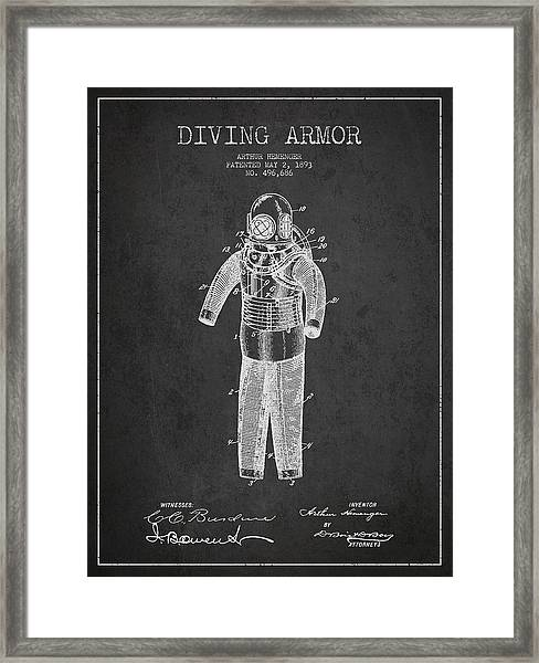 Diving Armor Patent Drawing From 1893 Framed Print