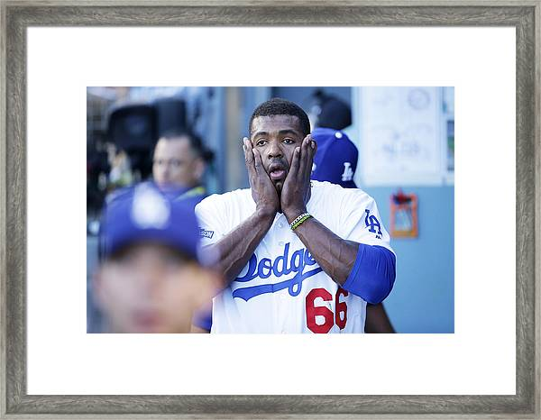 Division Series - Washington Nationals V Los Angeles Dodgers - Game Four Framed Print by Jeff Gross