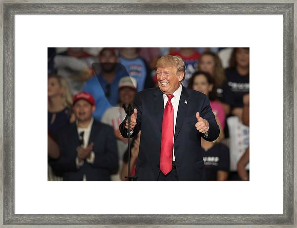 Donald Trump Holds Rally, Campaigns For Troy Balderson, In Ohio Framed Print by Scott Olson