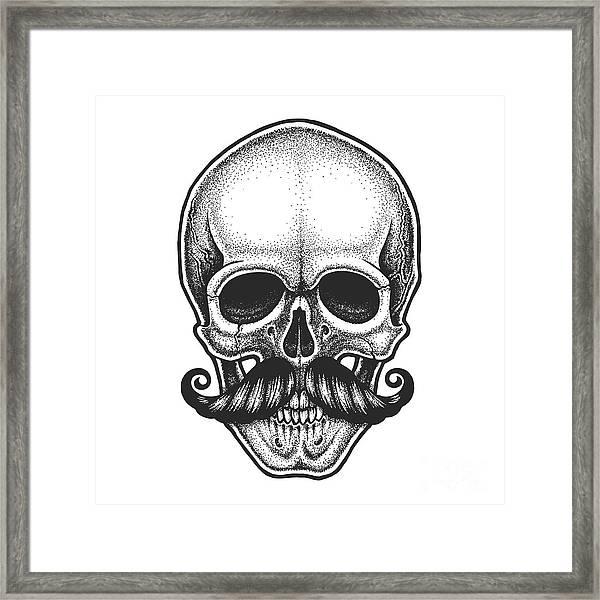Dotwork Styled Skull With Moustache Framed Print by Mr bachinsky
