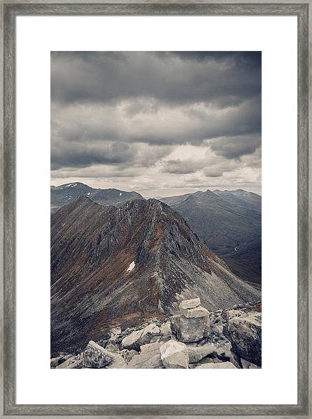 Dramatic Mountain Scenery In The Scottish Highlands Framed Print by Leander Nardin