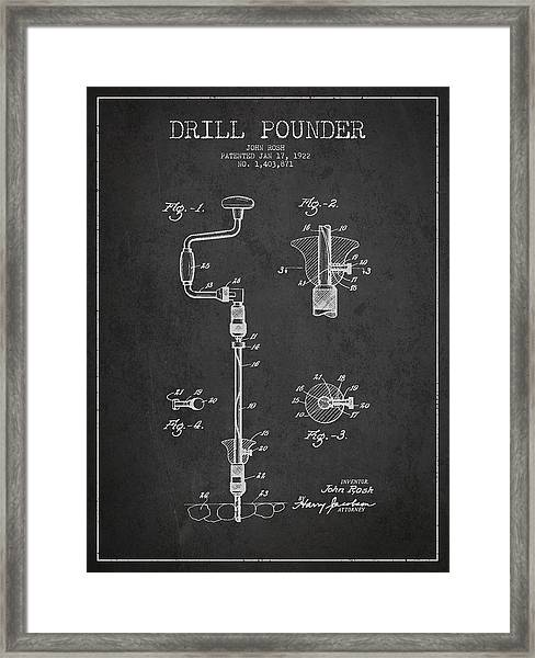 Drill Pounder Patent Drawing From 1922 Framed Print