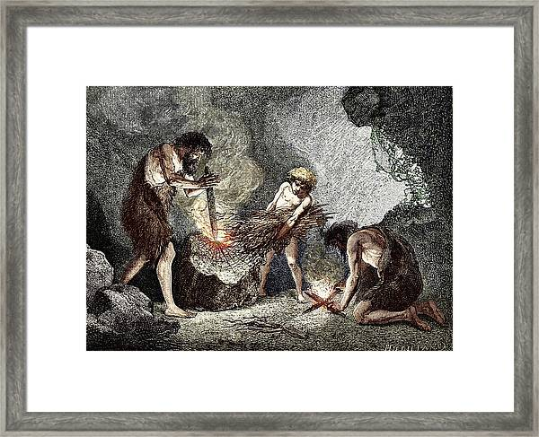 Early Humans Making Fire Framed Print by Sheila Terry