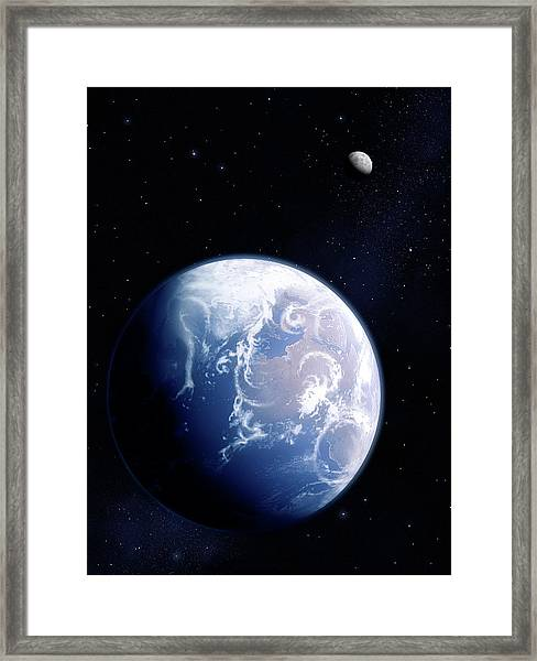 Earth And Moon Framed Print by Mark Garlick/science Photo Library