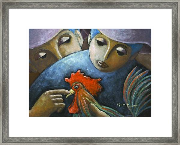 Framed Print featuring the painting El Gallo by Oscar Ortiz