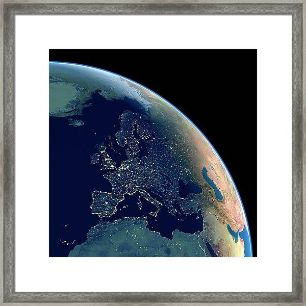 Europe At Night Framed Print by Planetary Visions Ltd/science Photo Library