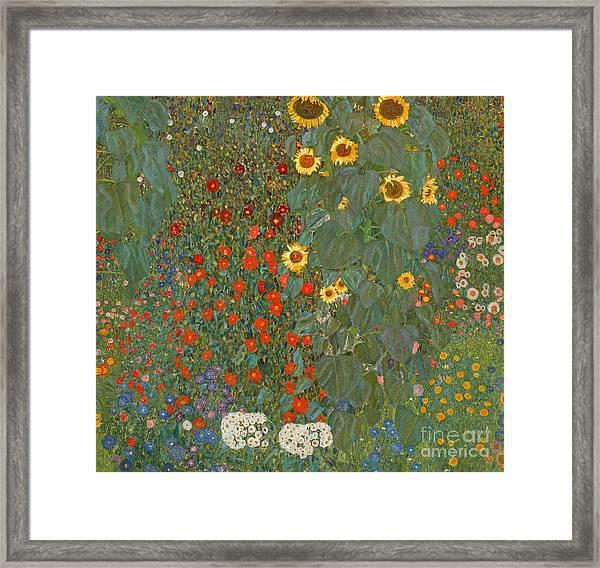 Farm Garden With Sunflowers Framed Print