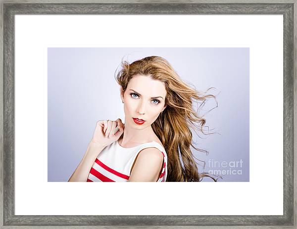 Fashion Beauty Girl. Beautiful Woman Long Red Hair Framed Print