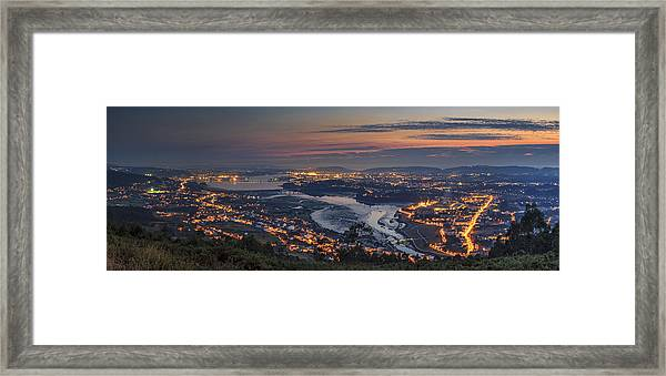 Ferrol's Ria Panorama From Mount Ancos Galicia Spain Framed Print