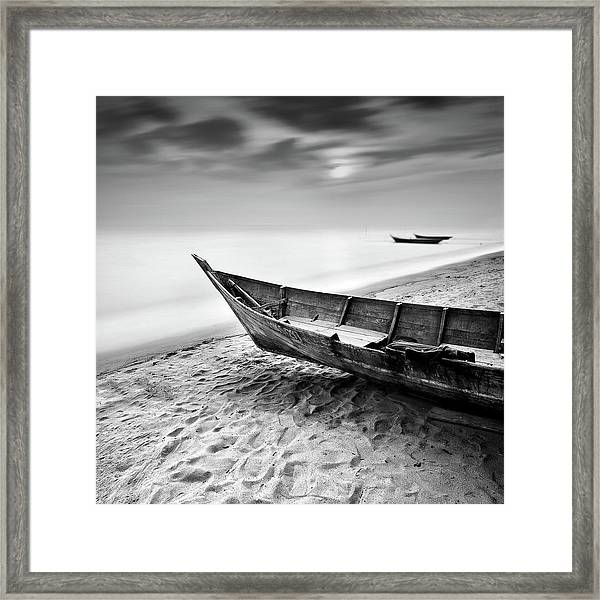 Fisherman Boat At Beach In Black And Framed Print by Photography By Azrudin