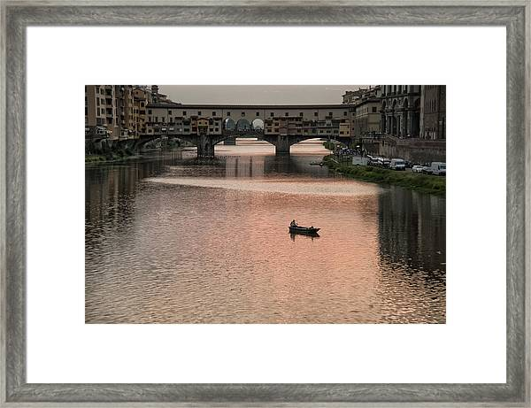 Fishing At Sunset Framed Print