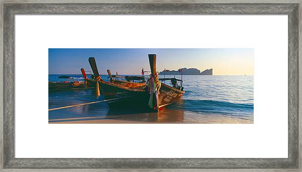 Fishing Boats In The Sea, Phi Phi Framed Print