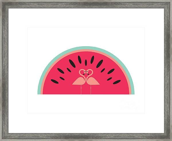 Flamingo Watermelon Framed Print