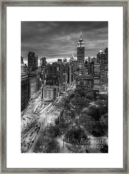 Framed Print featuring the photograph Flatiron District Birds Eye View by Susan Candelario