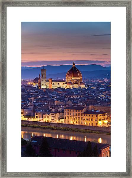 Florence Catherdral Duomo And City From Framed Print