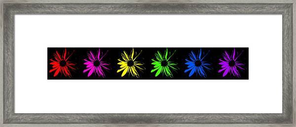Flowers On Black Framed Print