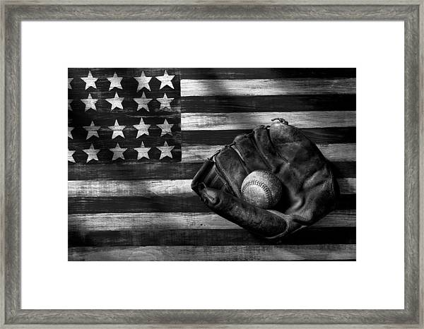 Folk Art American Flag And Baseball Mitt Black And White Framed Print