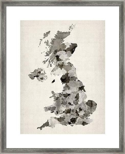 Great Britain Uk Watercolor Map Framed Print
