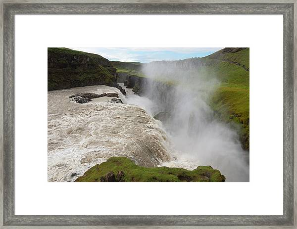 Gullfoss Golden Waterfall On River Framed Print