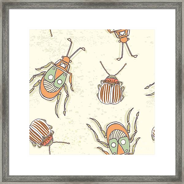 Hand Drawn Beetles Seamless Pattern Framed Print