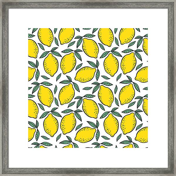 Hand Drawn Colorful Seamless Pattern Of Framed Print