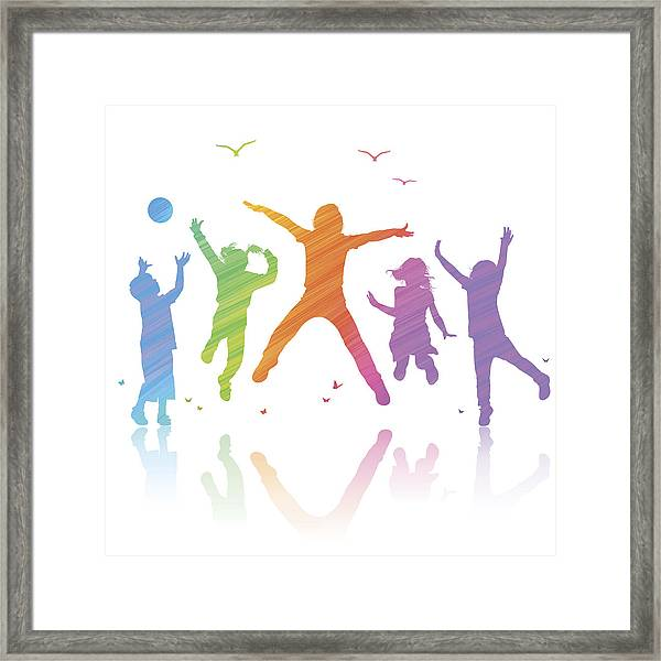 Happy Children Jumping Framed Print by Paci77