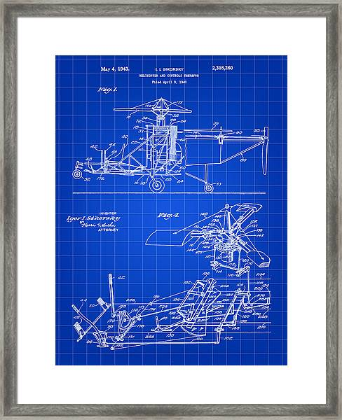 Helicopter Patent 1940 - Blue Framed Print