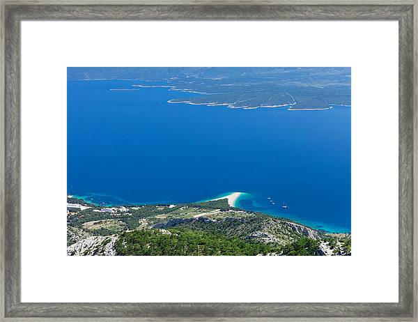 High Angle View Of The Hvar Island Framed Print