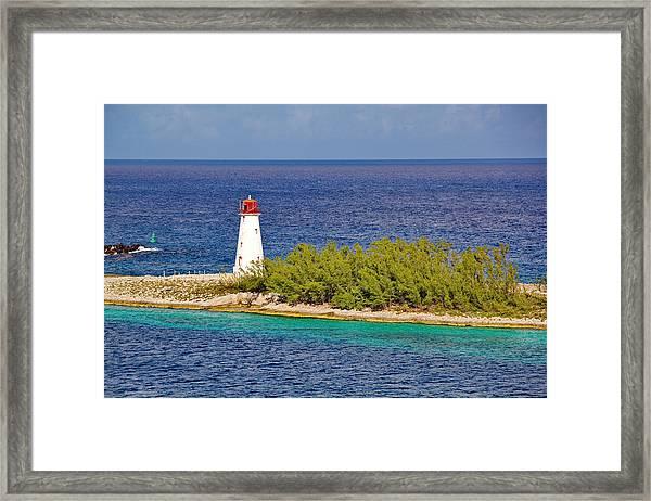 Hog Island Lighthouse On Paradise Island Bahamas Framed Print