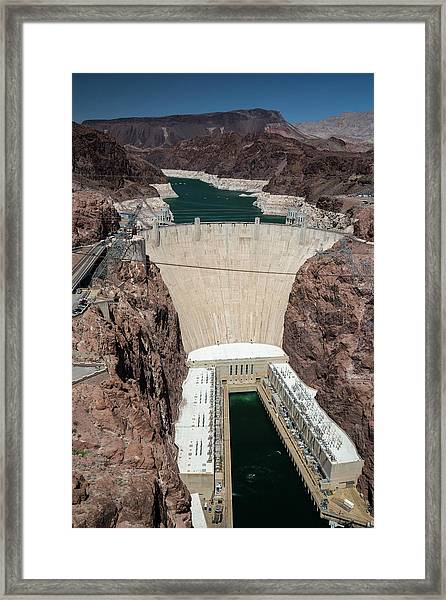Hoover Dam And Lake Mead During Drought Framed Print by Jim West/science Photo Library