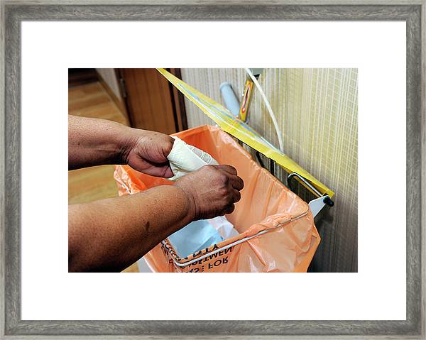 Hospital Waste Disposal Routine Framed Print by Public Health England/science Photo Library