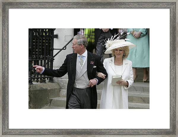 Hrh Prince Charles & Mrs Camilla Parker Bowles Marry At Guildhall Civil Cer Framed Print by Georges De Keerle