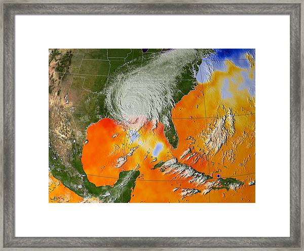 Hurricane Katrina Sea Surface Temperature Framed Print