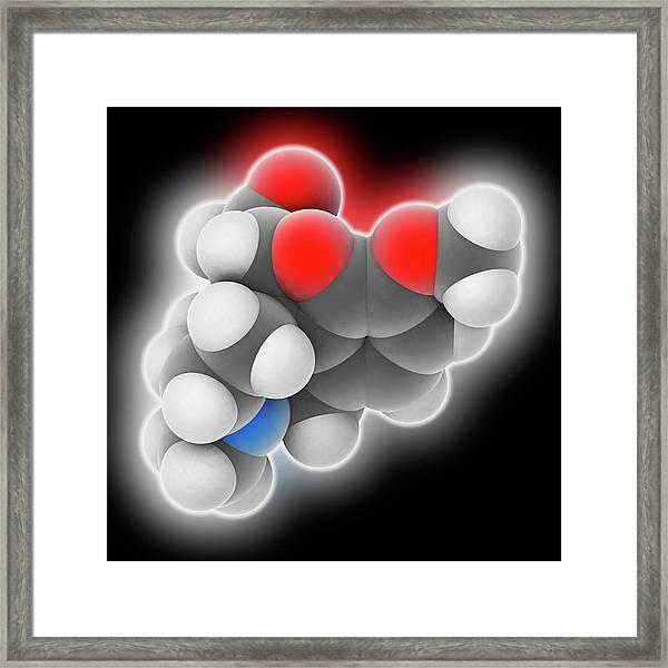 Hydrocodone Drug Molecule Framed Print by Laguna Design
