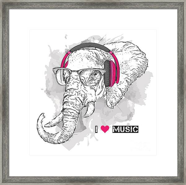 Illustration Of Elephant Hipster Framed Print by Sunny Whale
