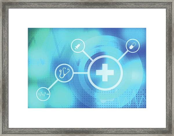Illustration Of Medical Signs Framed Print by Fanatic Studio / Science Photo Library