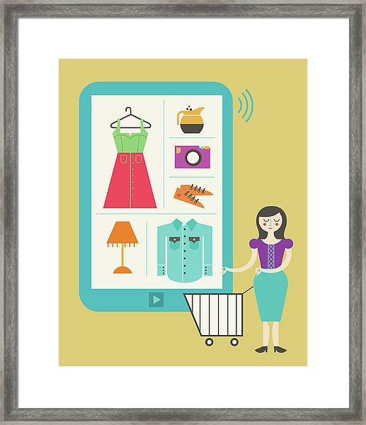 Illustration Of Online Shopping Framed Print by Fanatic Studio / Science Photo Library